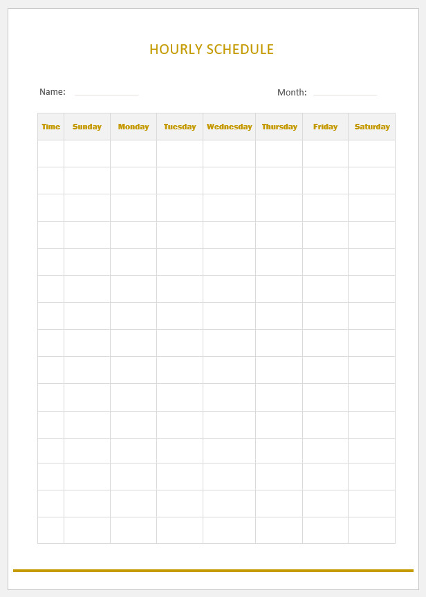 Free Printable Hourly Schedule Template