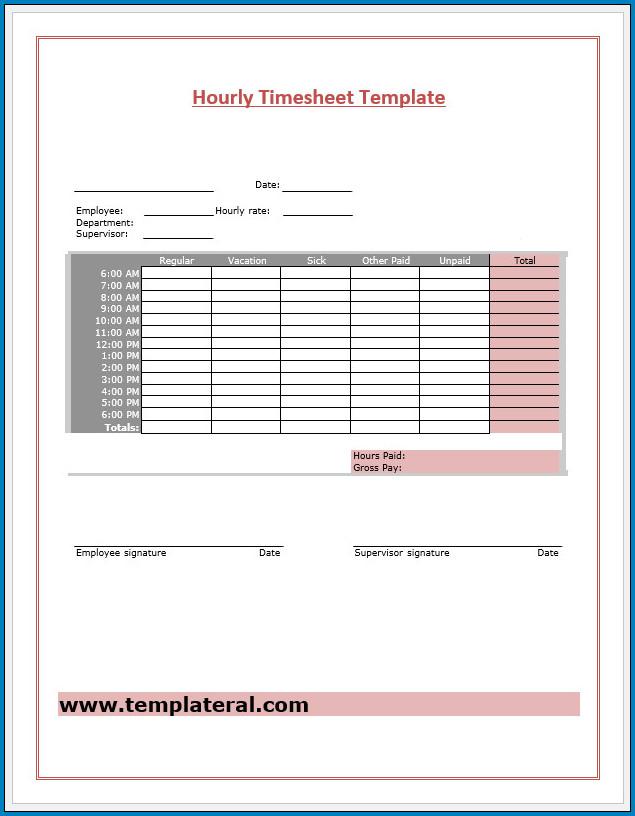 Free Printable Hourly Timesheet Template