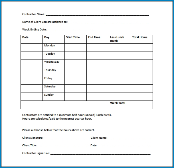 Independent Contractor Timesheet Template Sample