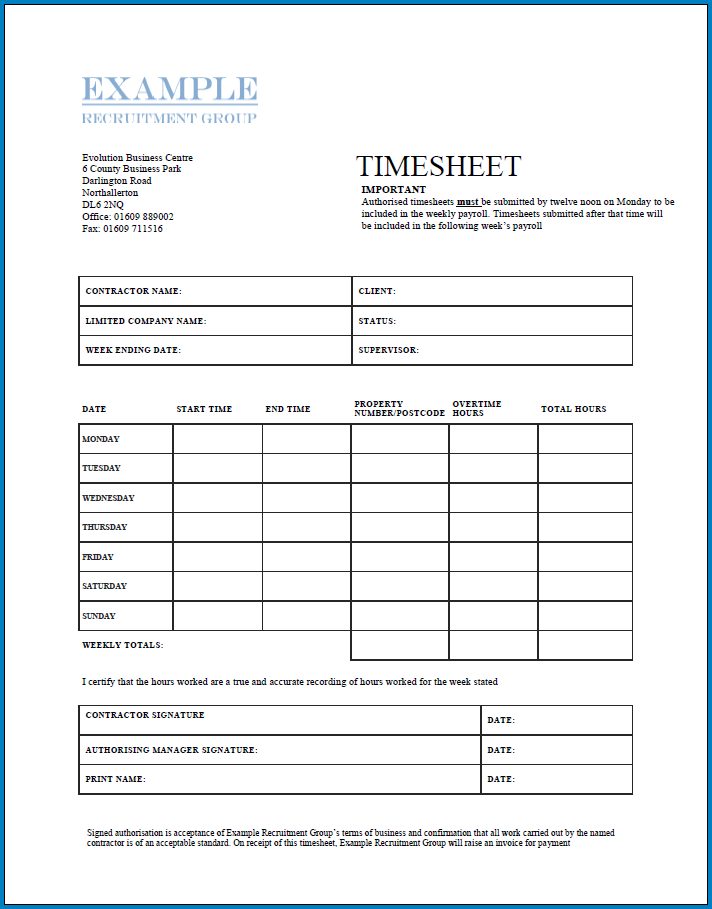 Free Printable Independent Contractor Timesheet Template