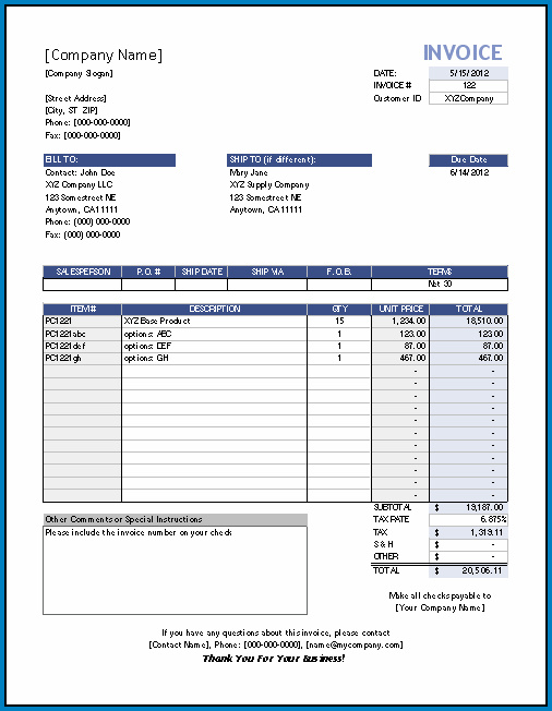 Invoice Template Excel Sample