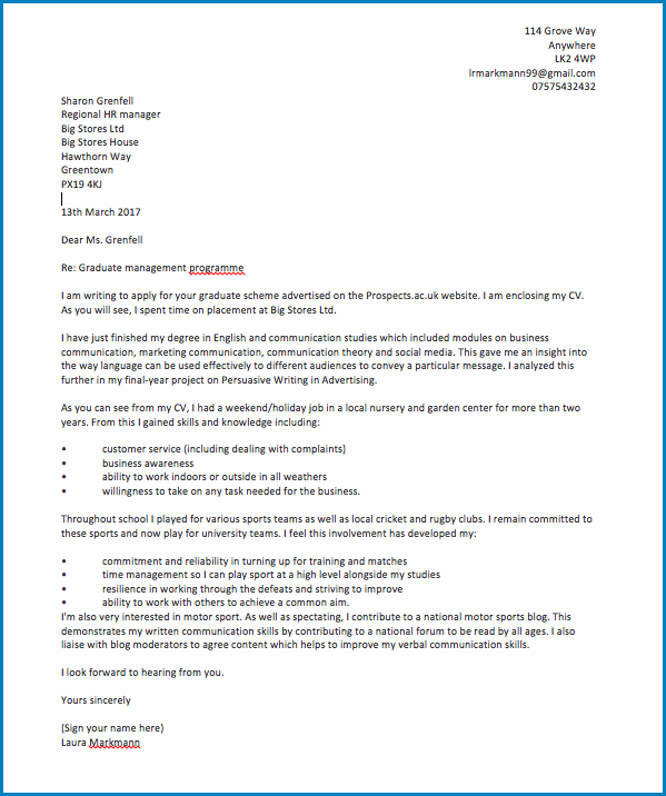 Job Cover Letter No Experience Example