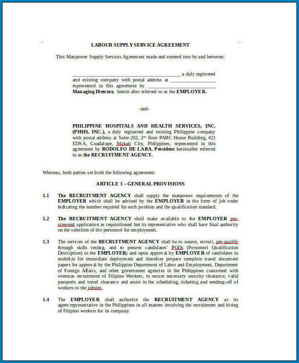 Free Labour Contract Agreement For Construction Of House Templateral