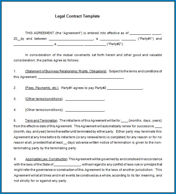 Legally Binding Contract Template Sample