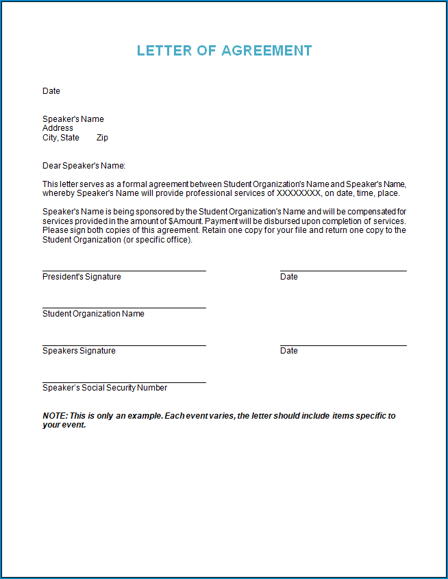 Free Printable Letter Of Agreement Template Between Two Parties