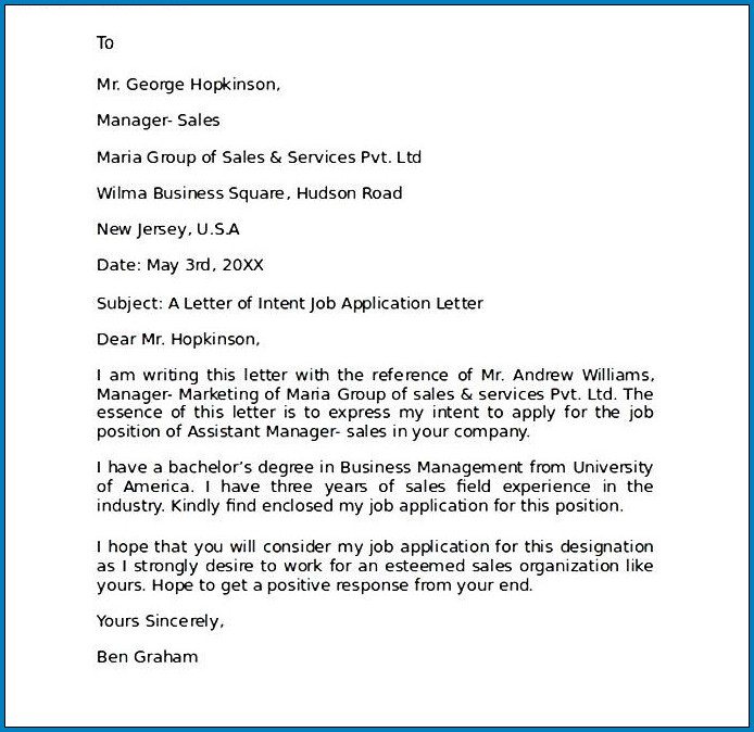 Sample Letter Of Intent For Job Application from www.templateral.com