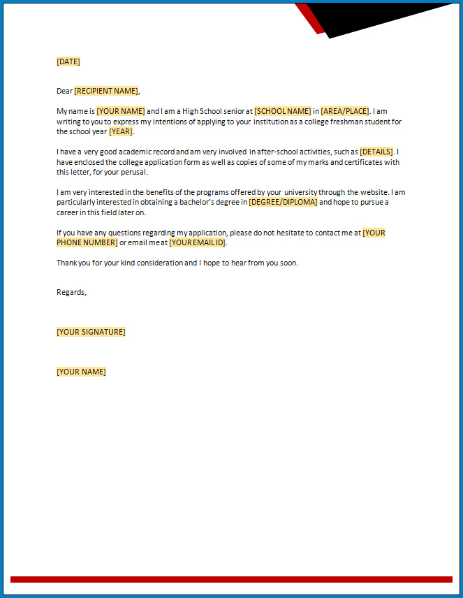 Free Printable Letter Of Intent Template For College