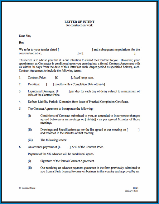 Letter Of Intent For Contract Example