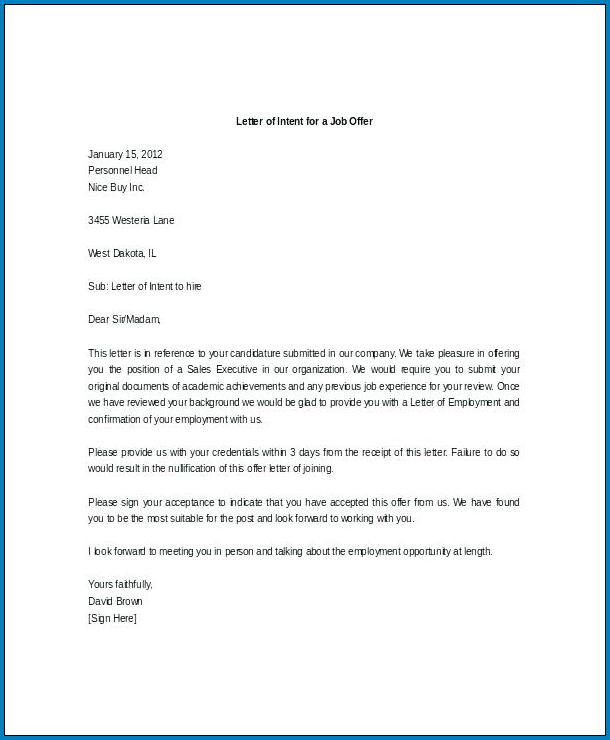 Letter Of Intent For Promotion Example