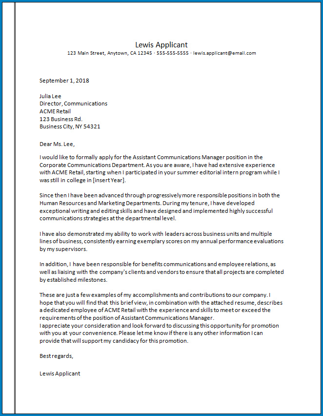 Sample Cover Letter For Internal Promotion from www.templateral.com