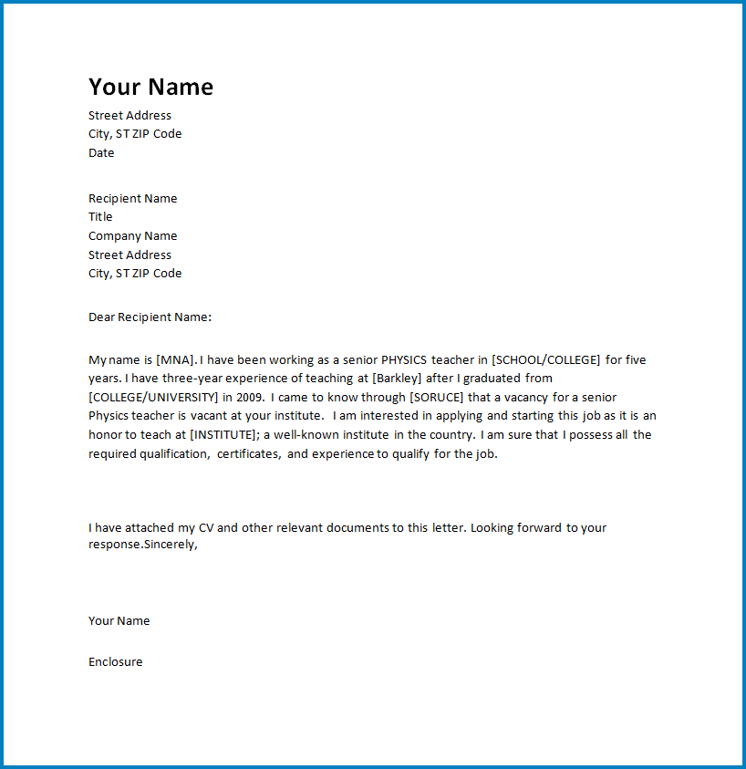 Free Printable Letter Of Intent Template For Teaching Job