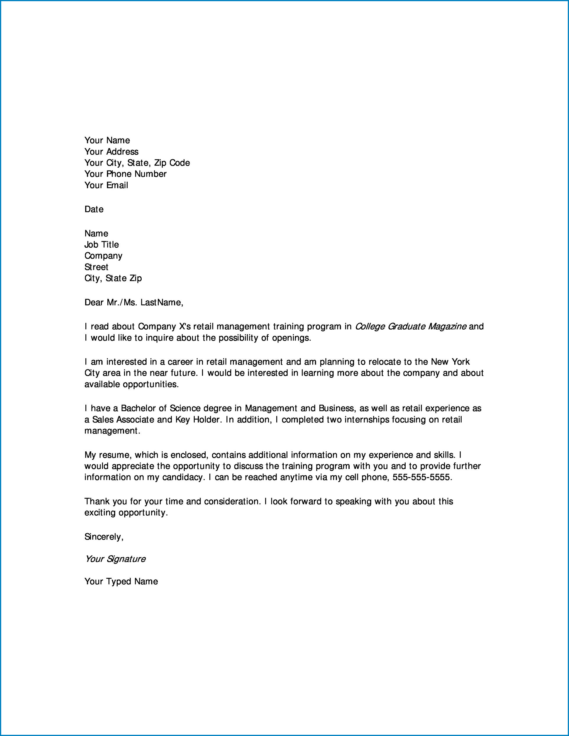 Letter Of Interest For Employment Sample
