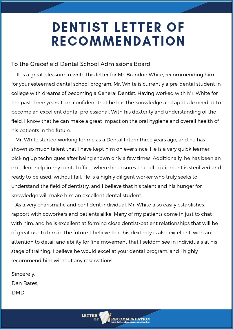 free printable letter of recommendation dental school