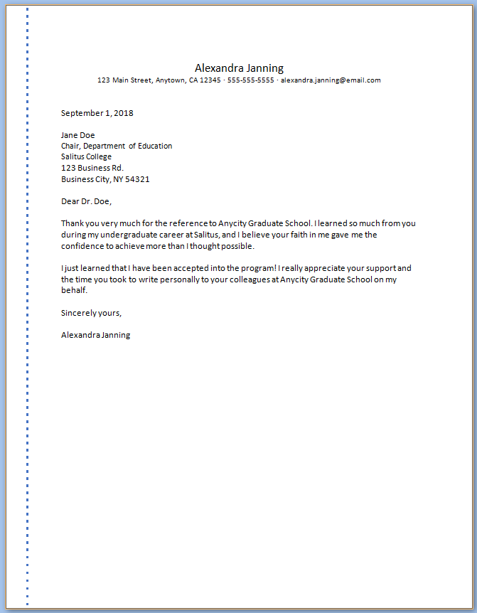 Free Printable Graduate School Letter Of Recommendation Template