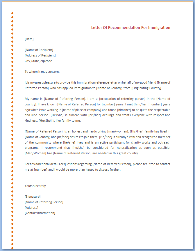 Free Printable Letter Of Recommendation Template For Immigration