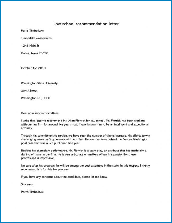Letter Of Recommendation For Law School Sample