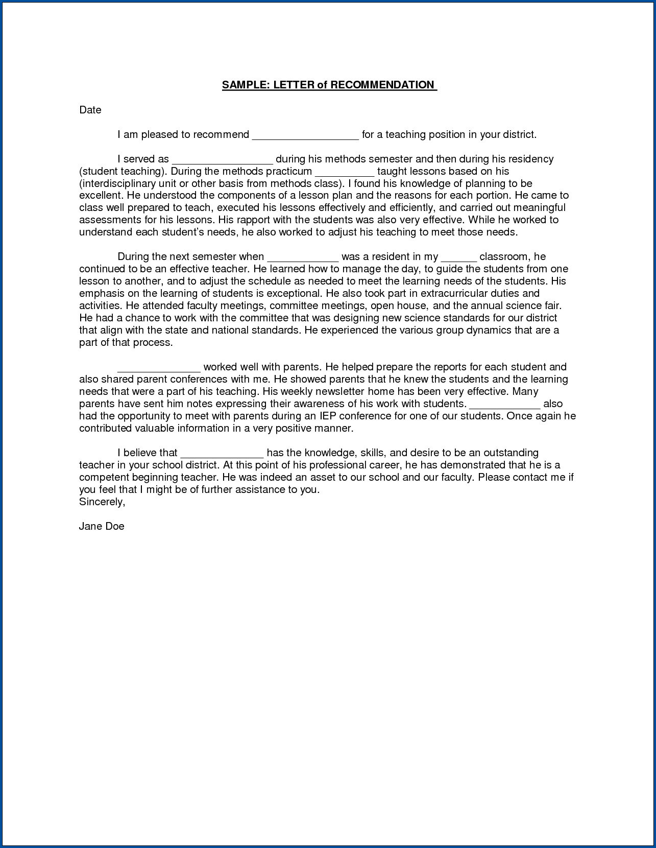 Letter Of Recommendation For Teaching Position from www.templateral.com