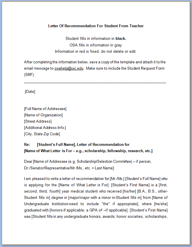 Free Printable Letter Of Recommendation For Student From Teacher