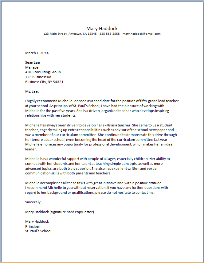 Free Printable Letter Of Recommendation For Teacher From Student