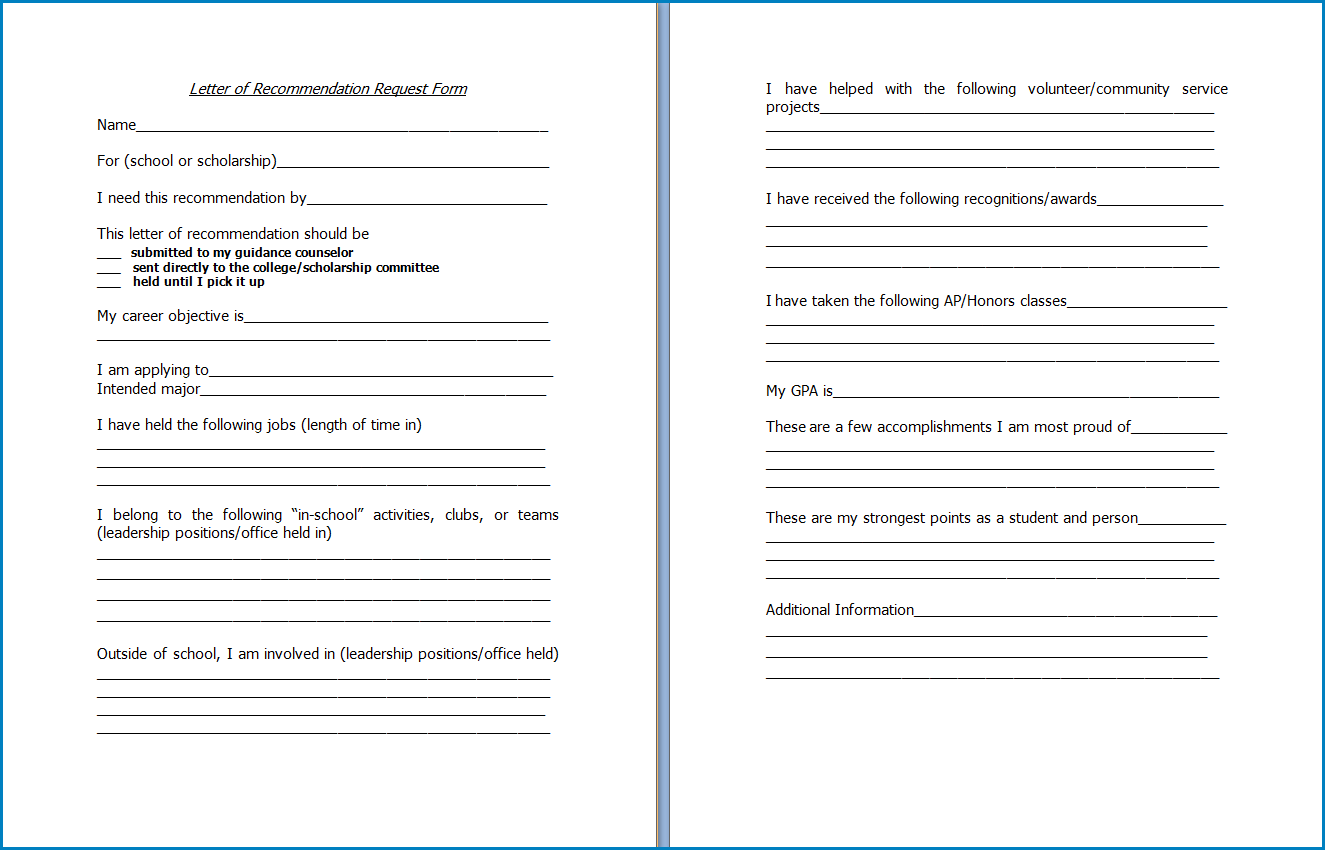 Letter Of Recommendation Request Template