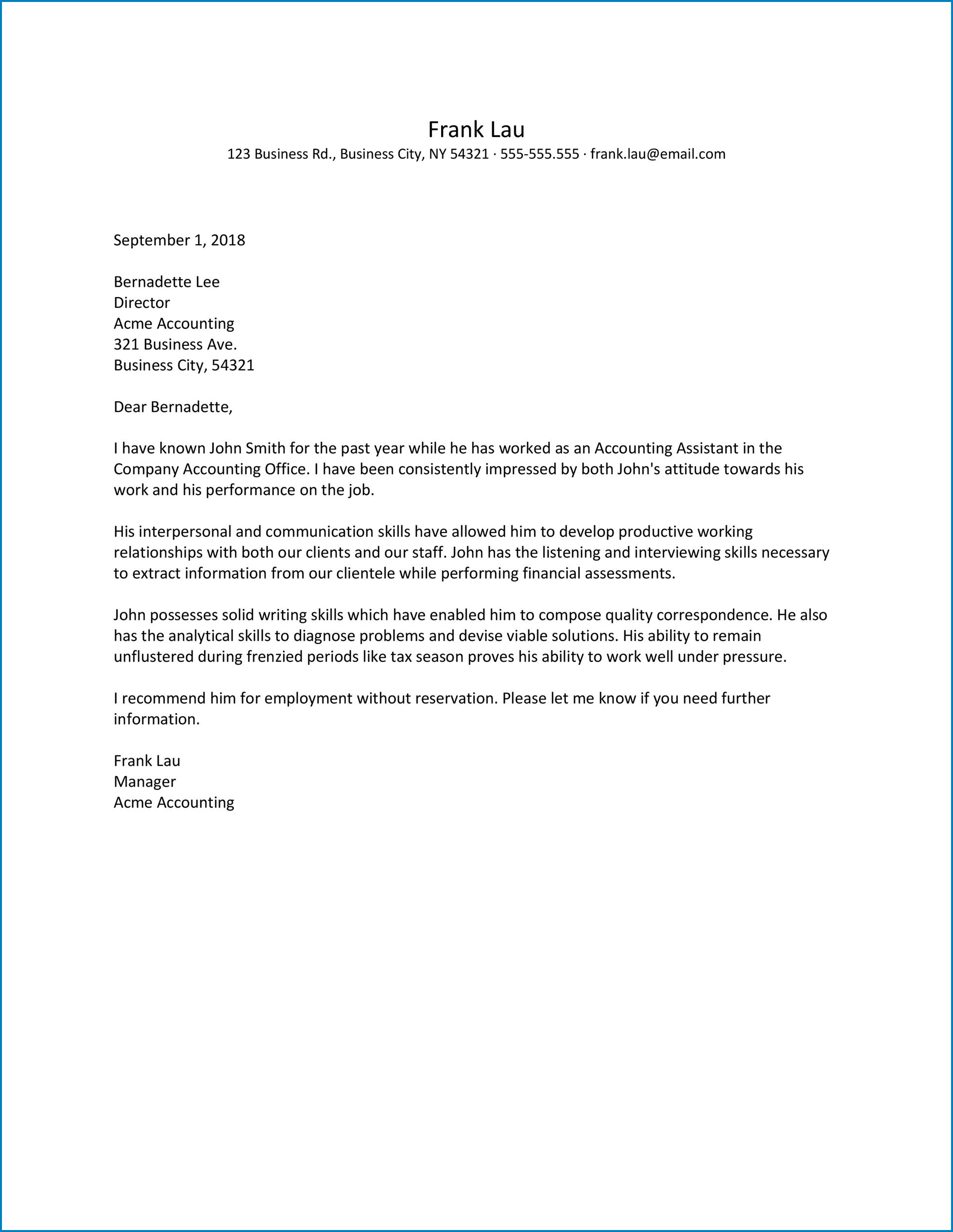 Letter Of Recommendation Work Example