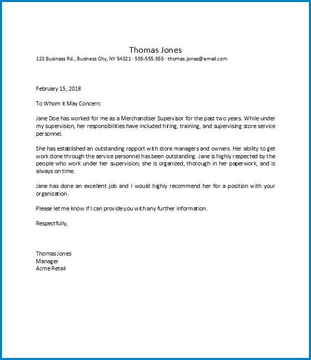 Letter Of Recommendation Work Sample