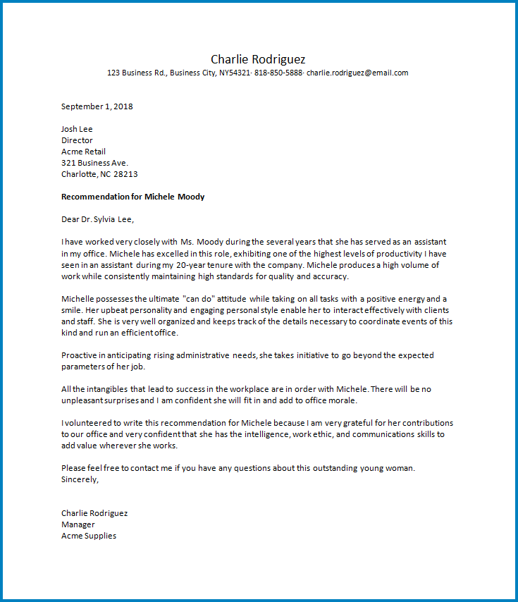 Free Printable Letter Of Recommendation Work