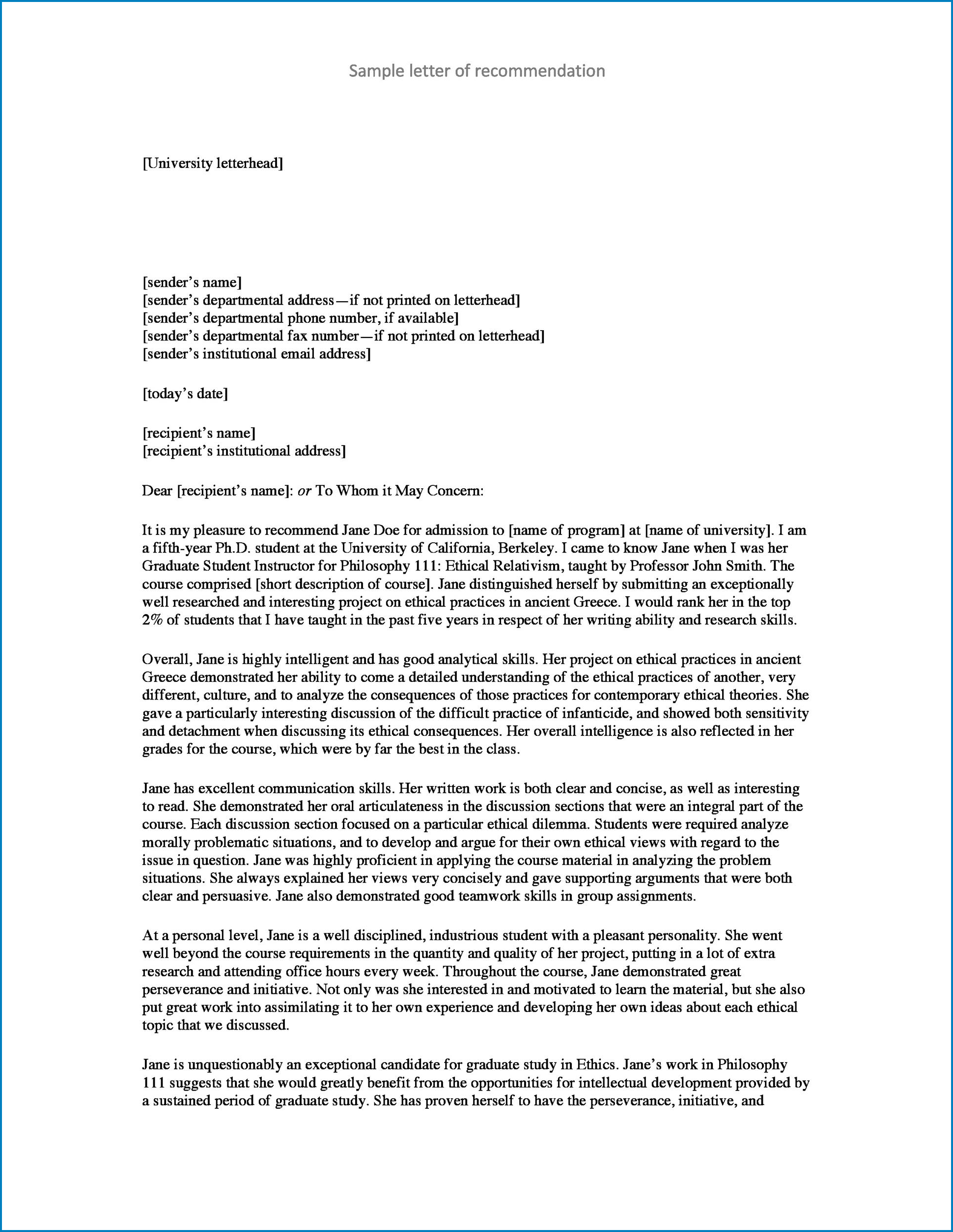 Letterhead For Letter Of Recommendation Example