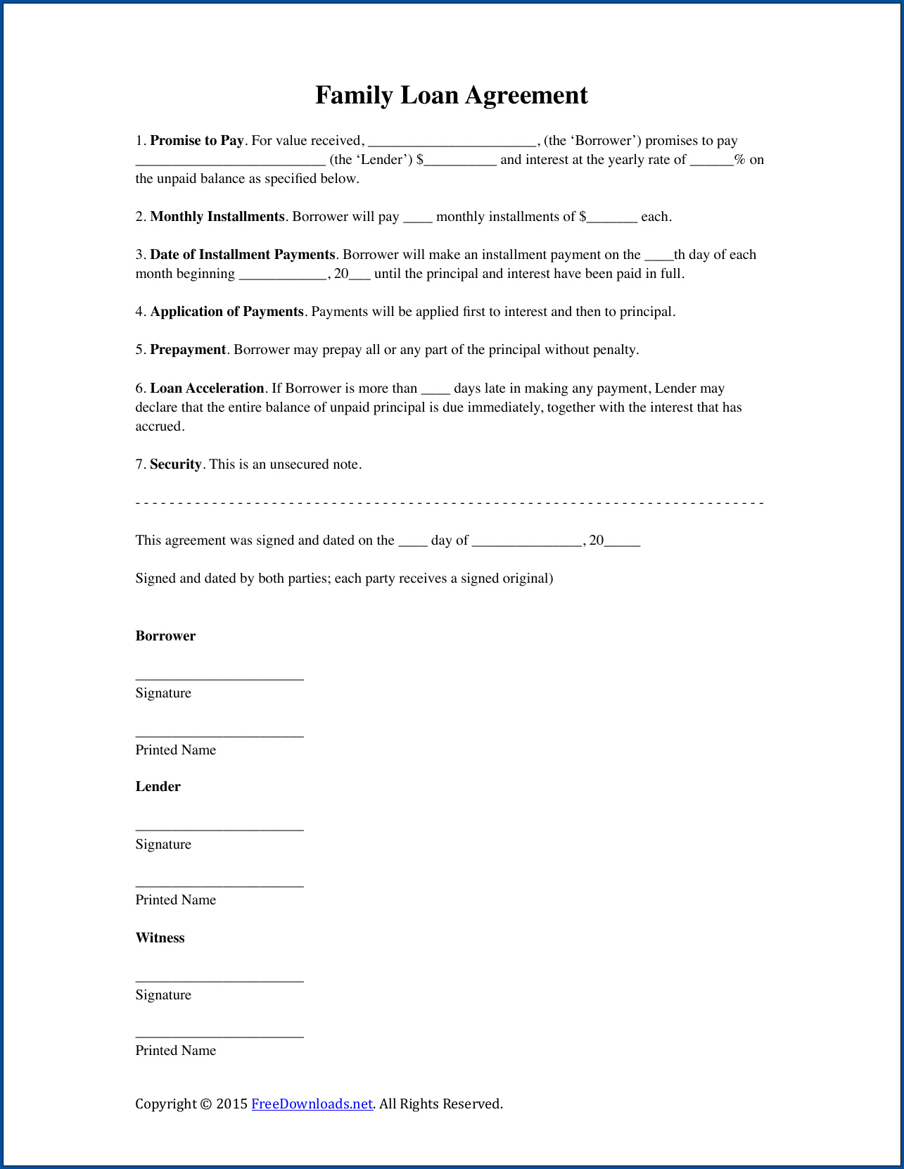 Loan Contract Agreement Template Example