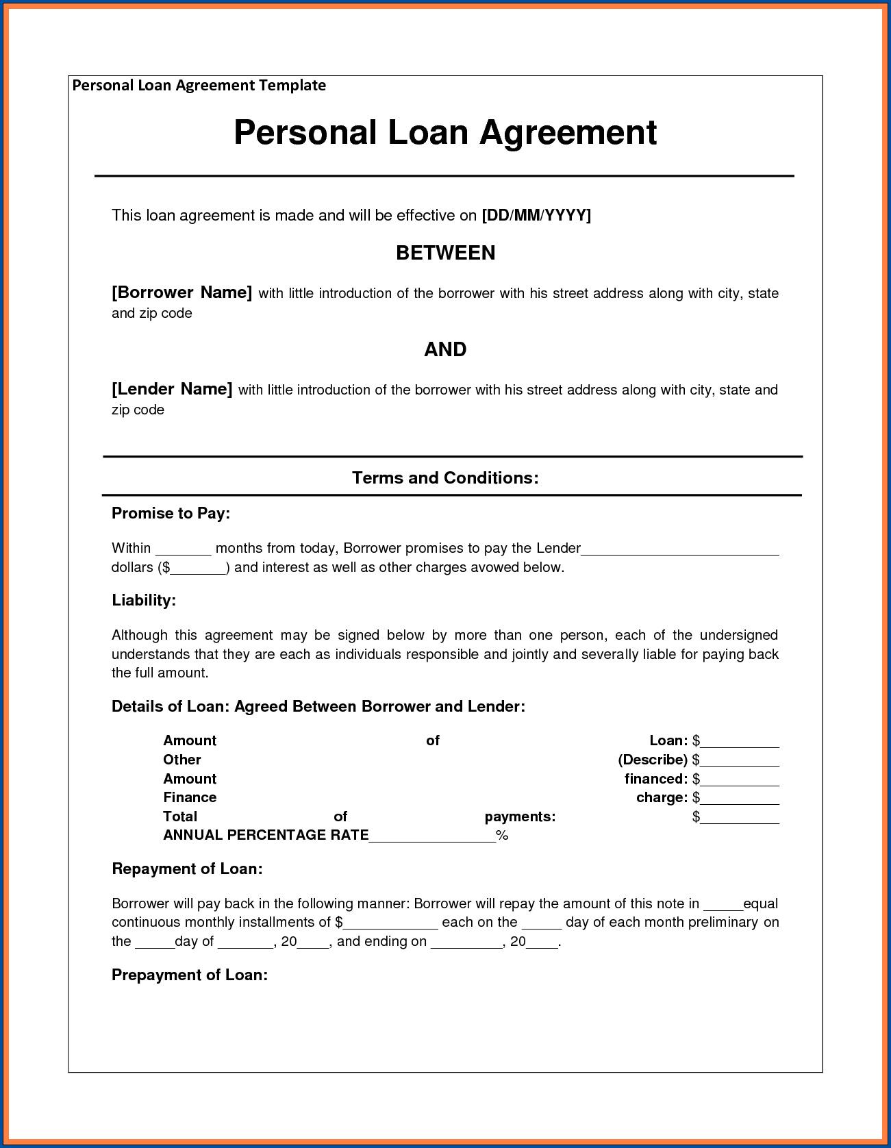 Loan Contract Between Friends Sample