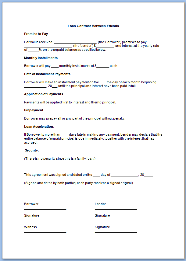 Search Results Contract For Loaning Money - BestTemplatess