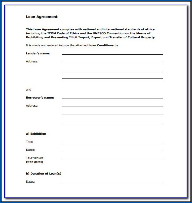 Loan Contract Template Example