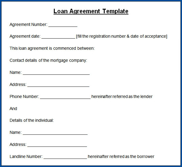 Loan Contract Template Sample