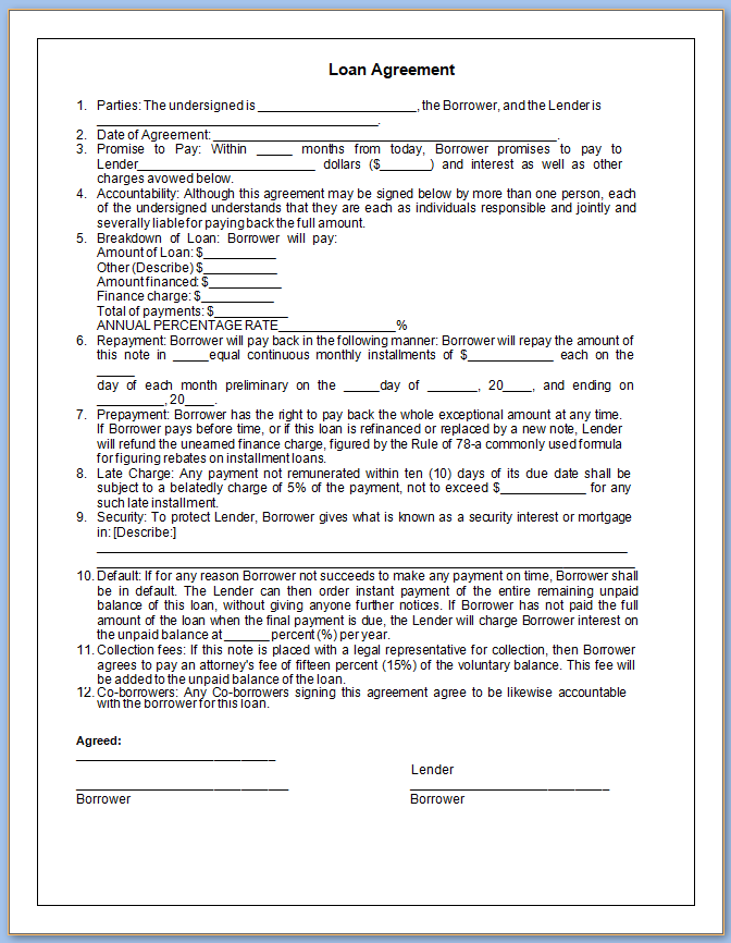 Free Printable Loan Contract Template