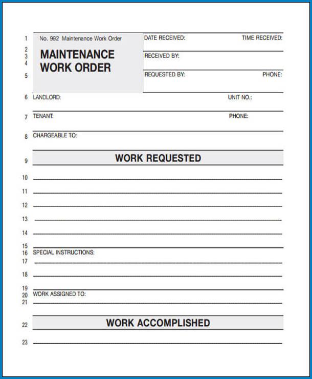Maintenance Work Order Example