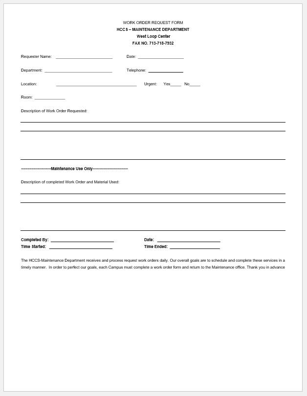 Free Printable Maintenance Work Order Template