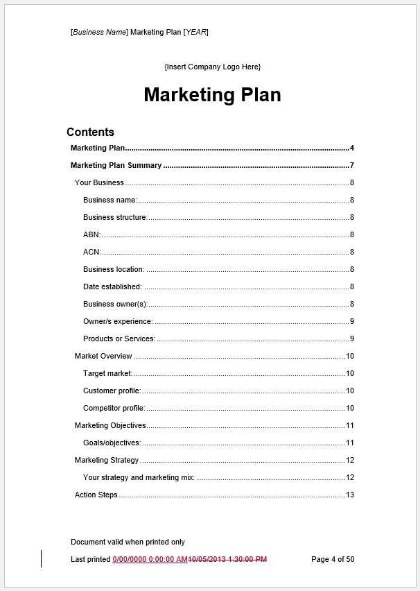 Free Printable Marketing Plan Template