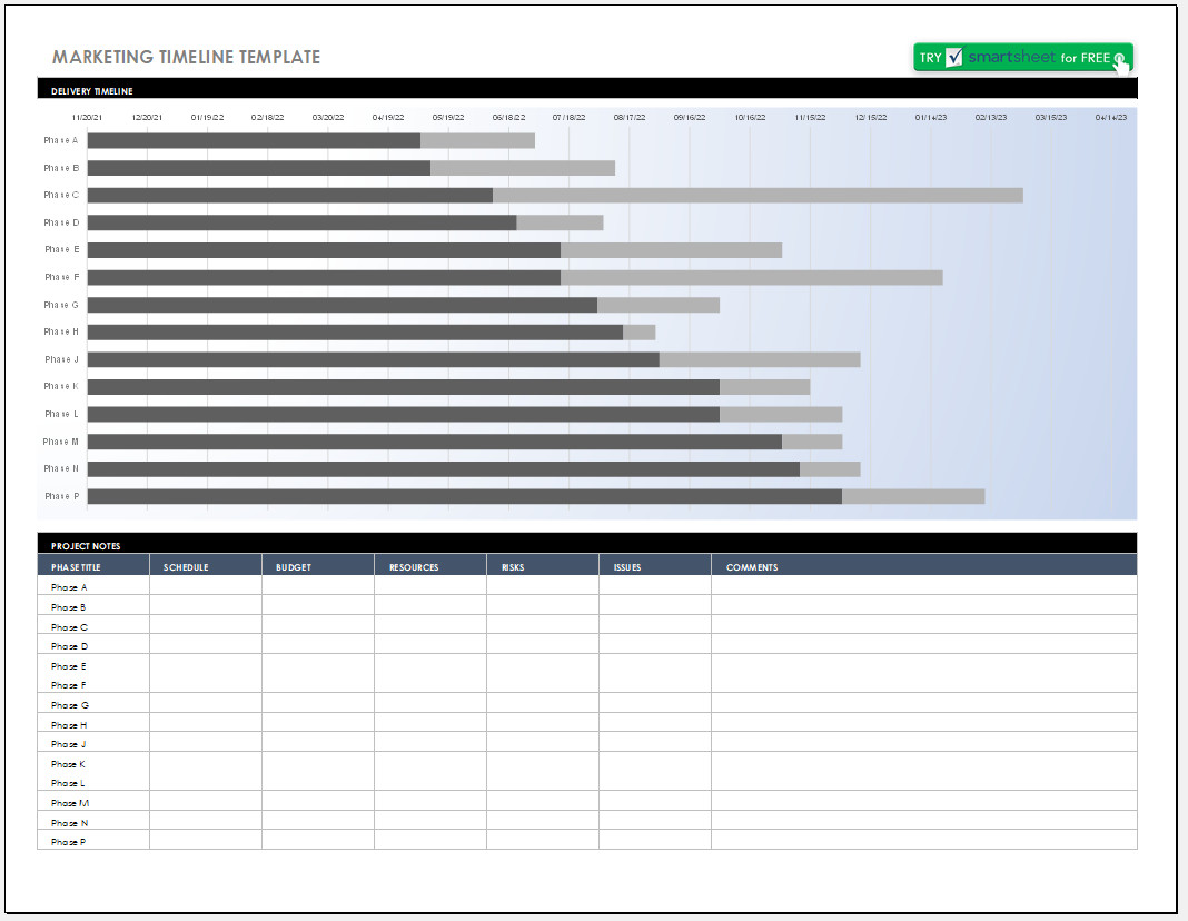 Free Editable Marketing Timeline Template