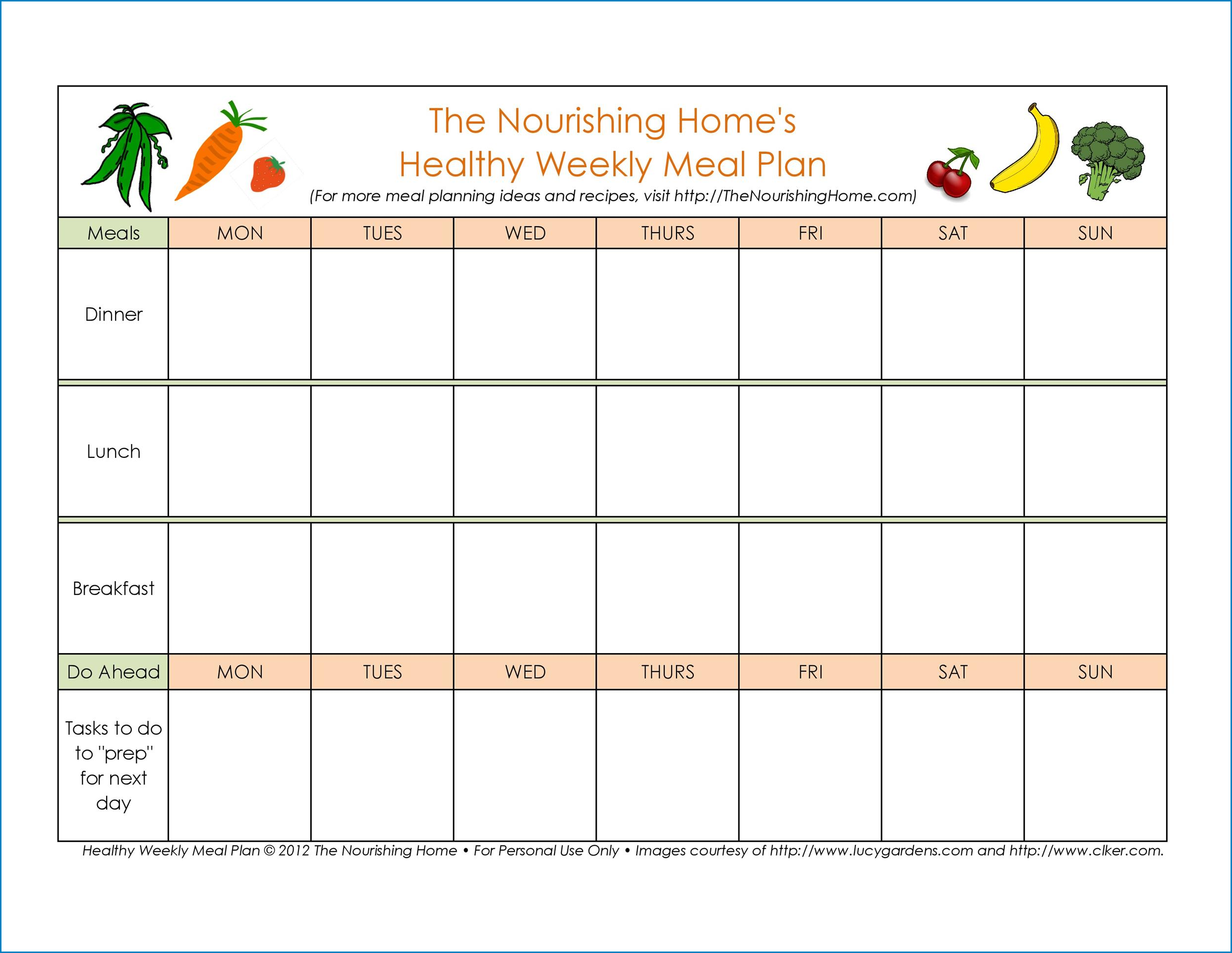 Meal Plan Template Example