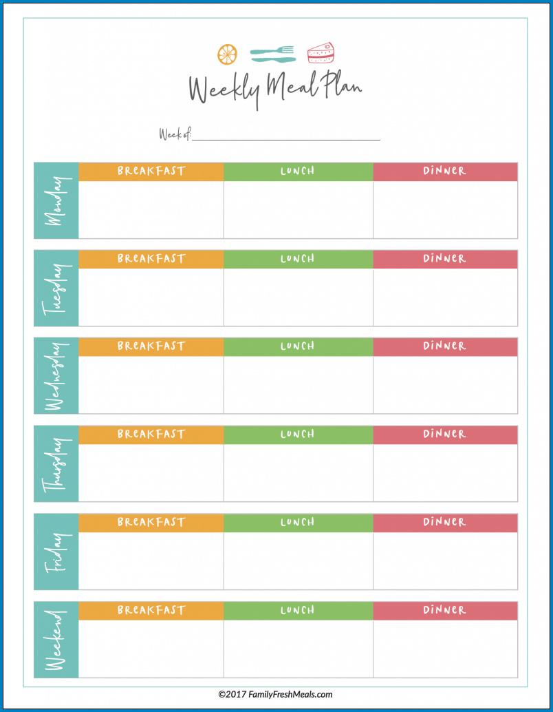Meal Plan Template Excel Sample