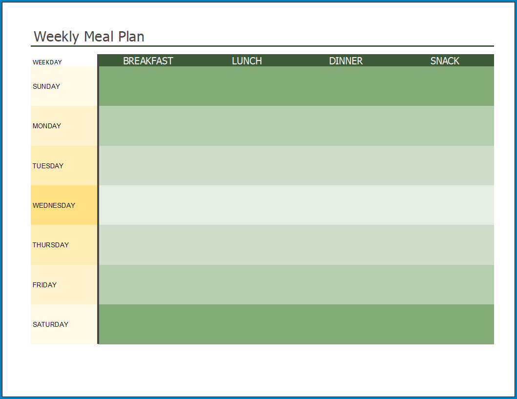 Free Printable Meal Plan Template Excel