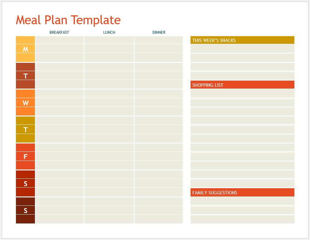 Free Printable Meal Plan Template