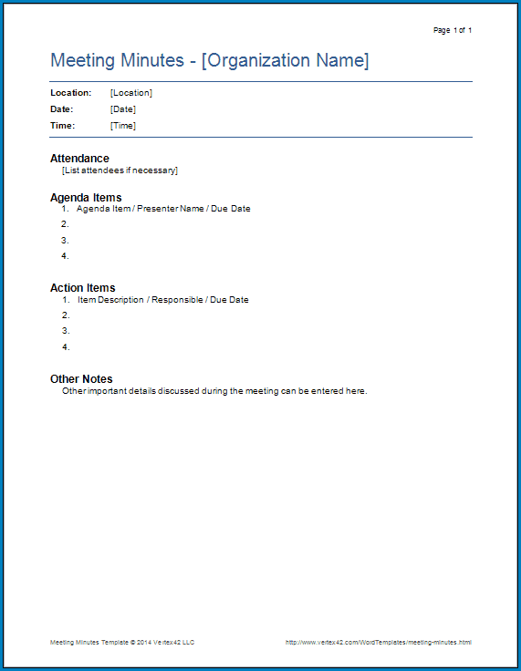 Meeting Minutes Template Example