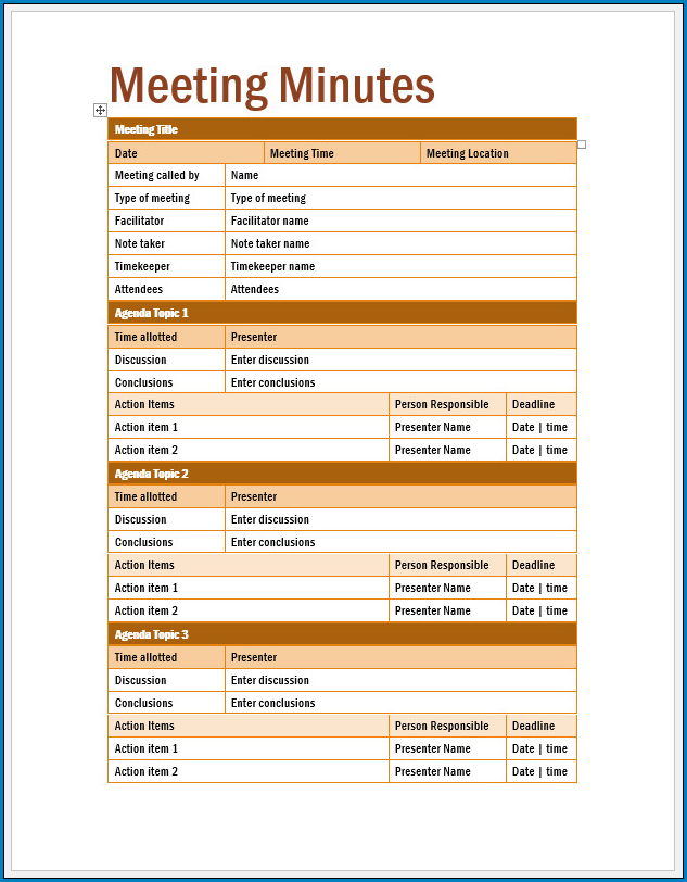 Free Printable Meeting Minutes Template