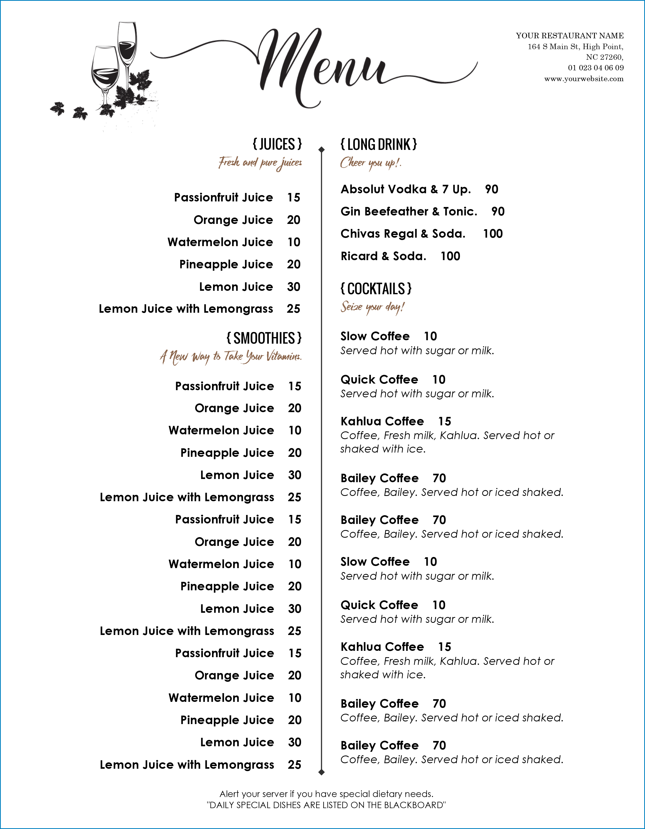 Free Printable Menu Template Word Templateral
