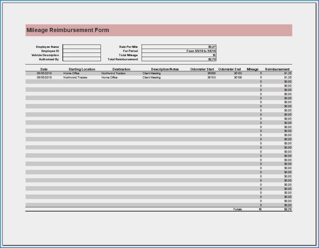 Free Printable Mileage Reimbursement Form