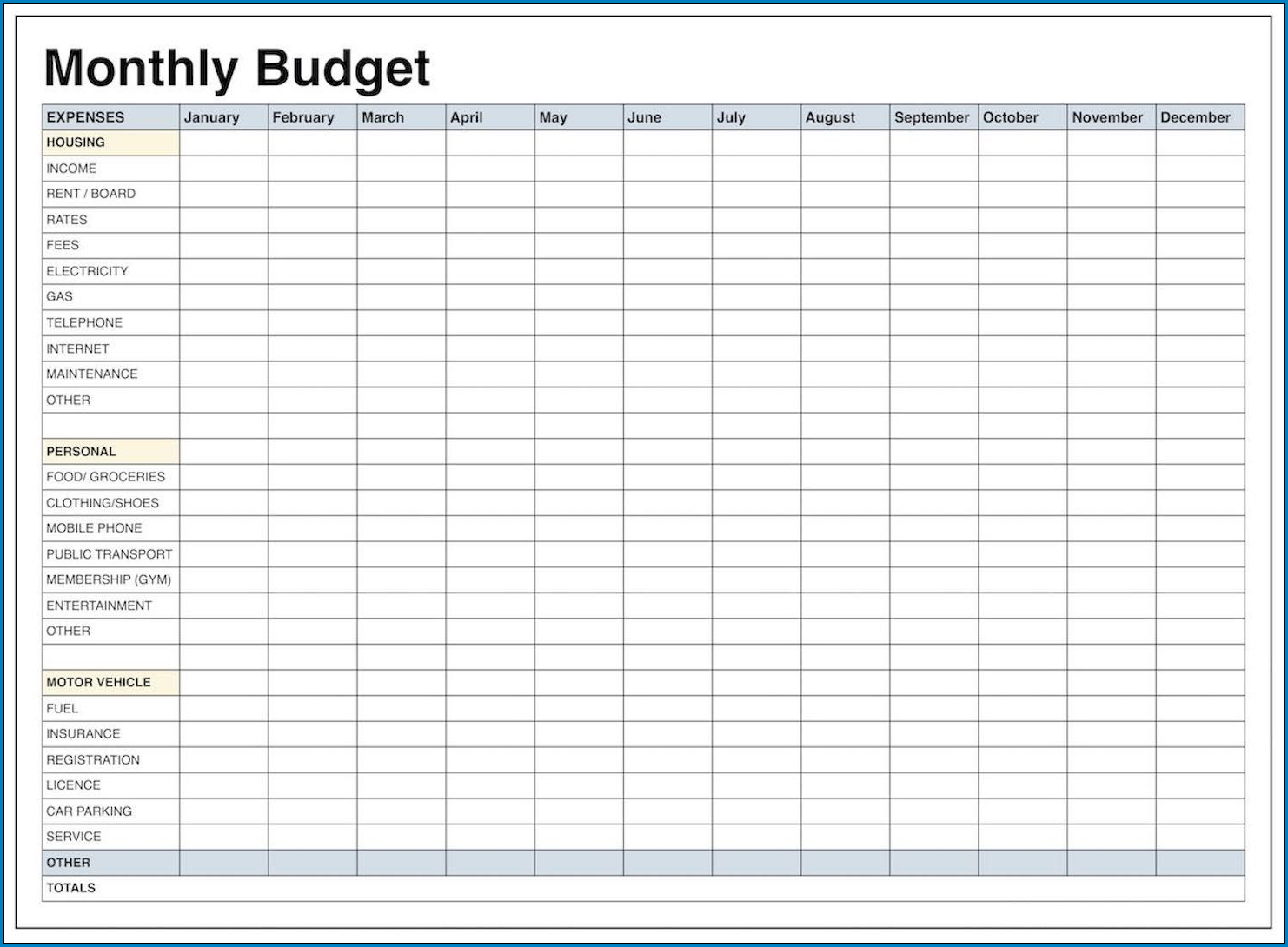 Monthly Budget Planner Template Sample