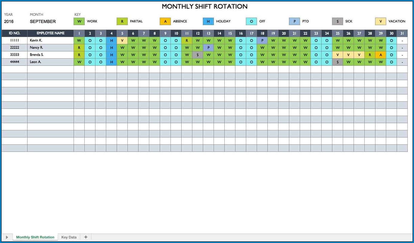 Monthly Employee Schedule Template Excel Example