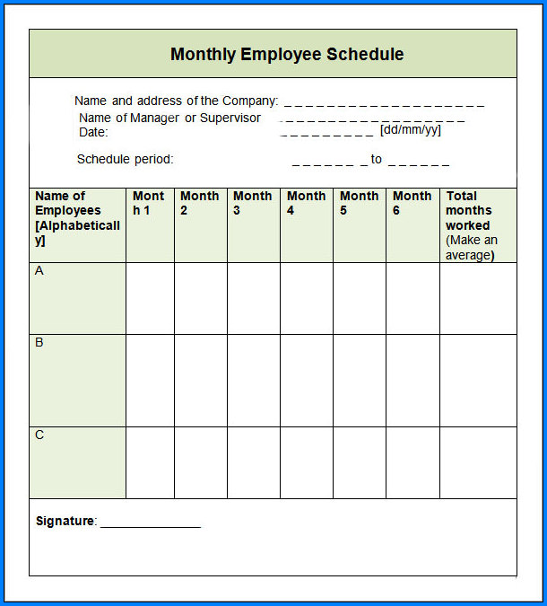 Monthly Schedule Template Example