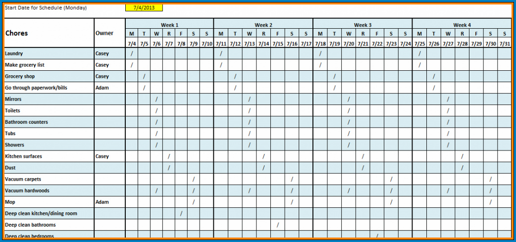 Monthly Schedule Template Excel Example